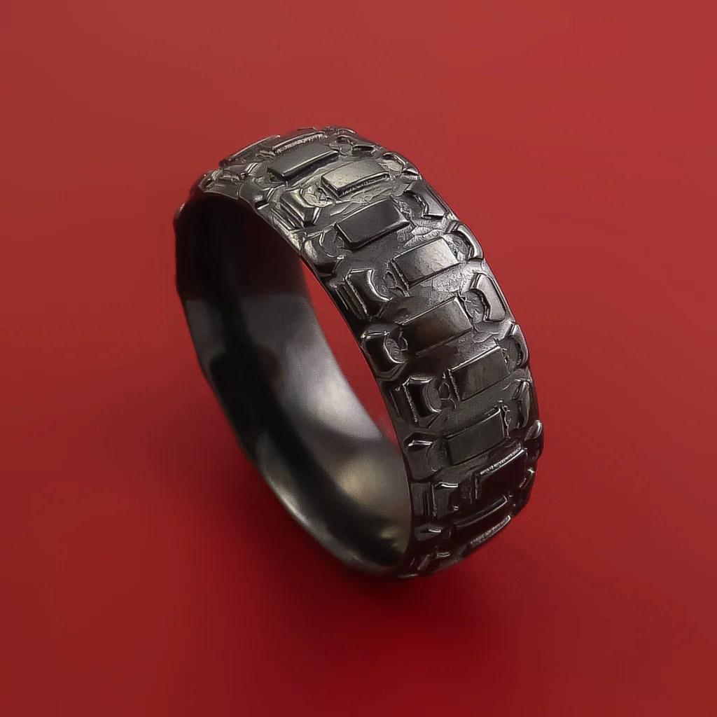 Black Zirconium Dirt Bike Tread Design Ring Bold Unique