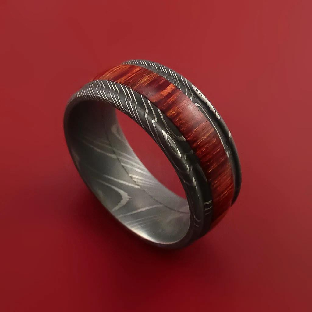 Wood Ring And DAMASCUS Ring Inlaid With BAHAMA CHERRY WOOD