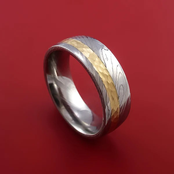Damascus Steel 14K Yellow Gold Ring Wedding Band Custom