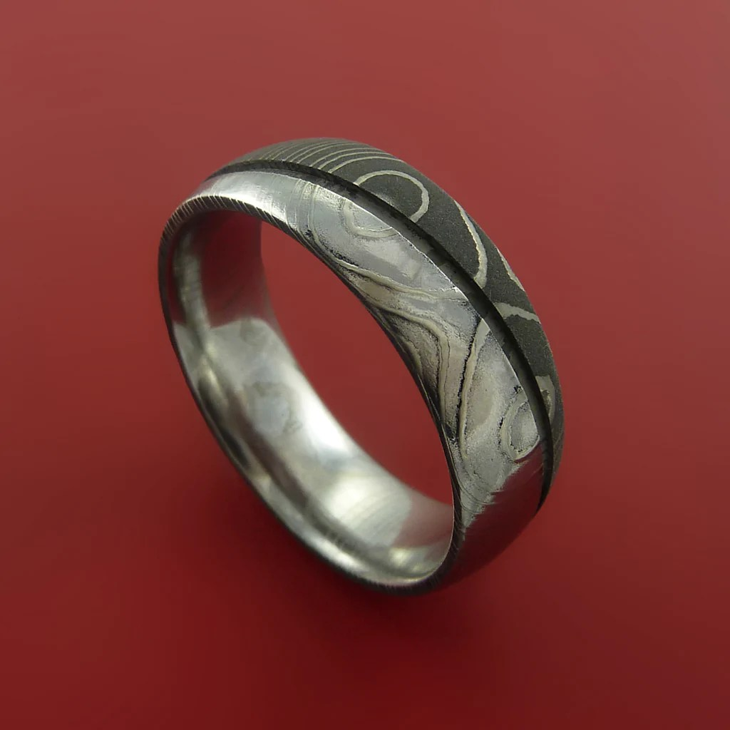 Damascus Steel Ring Wedding Band Two Tone Finish Genuine
