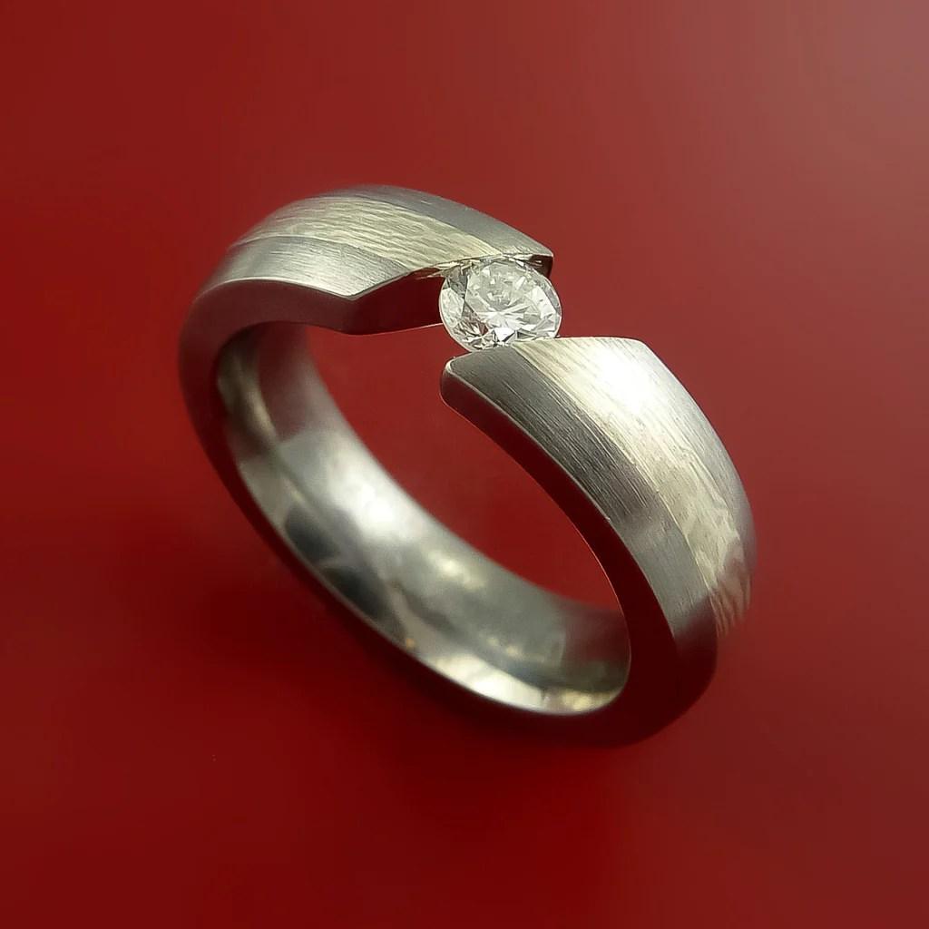Titanium And Mokume Gane Ring With Moissanite Tension