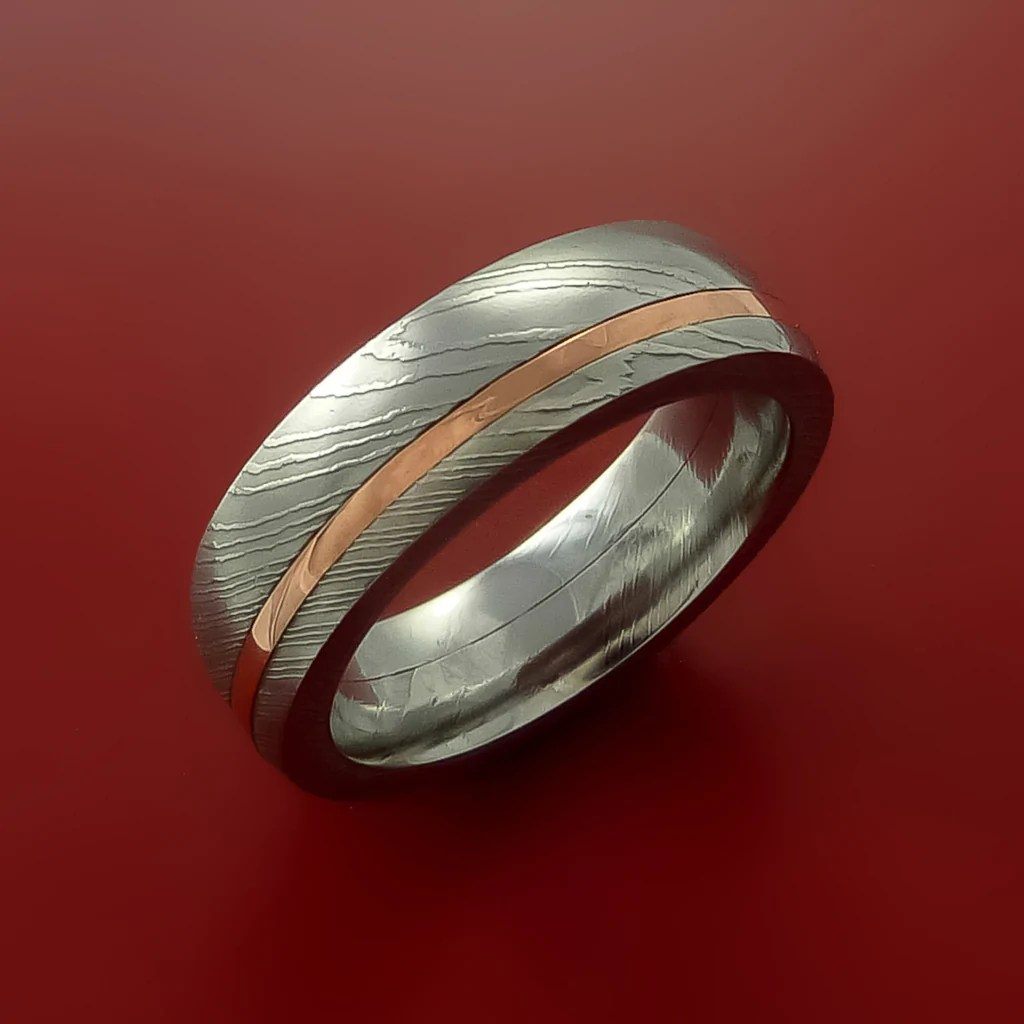 Damascus Steel And Copper Ring Wedding Band Custom Made