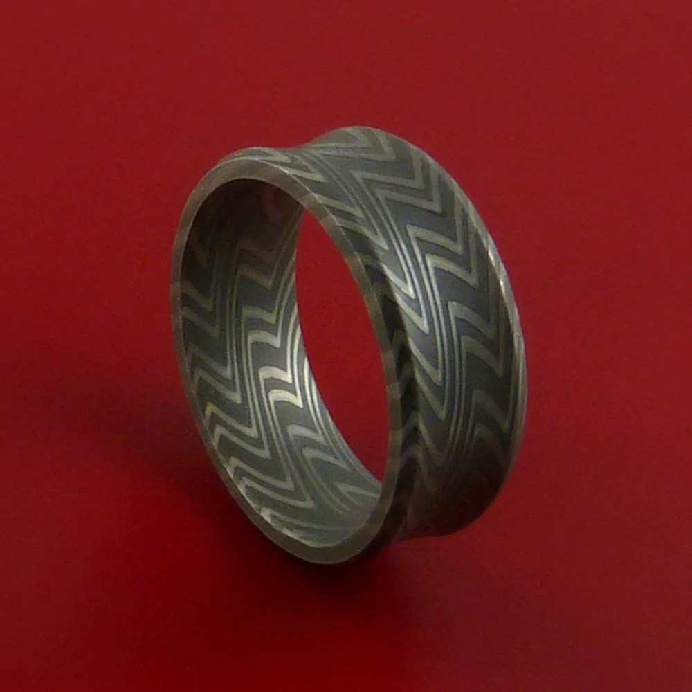 Damascus Steel Ring Pattern Wedding Band Zebra Look