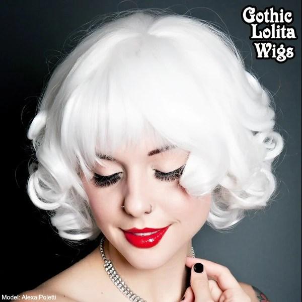 Gothic Lolita Wigs Curly Bob White Dolluxe