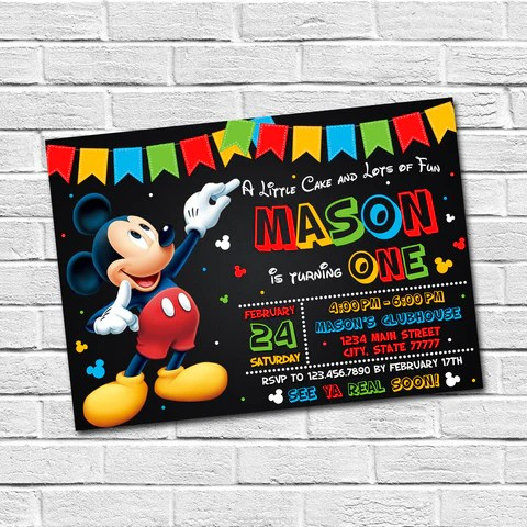 invitations mickey and minnie