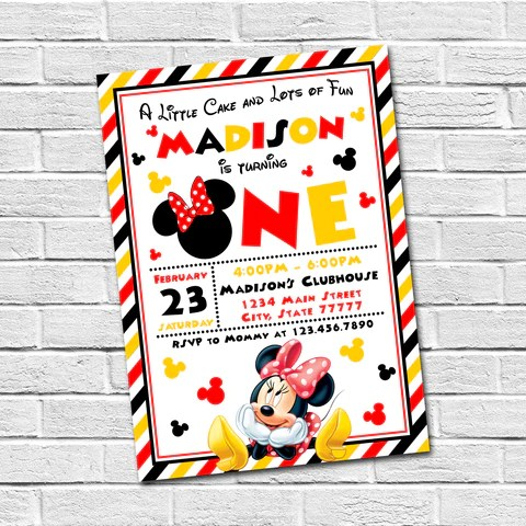 invitations mickey and minnie