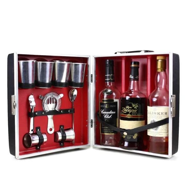Vintage Travel Bar 3 Bottle Cocktail Case Bar Tool