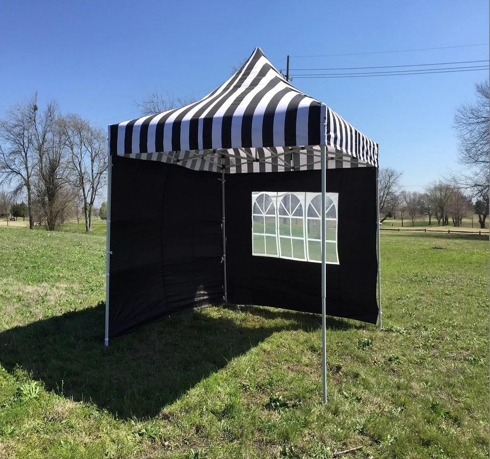 8x8 Black White Stripe Pop Up Tent Basic Deltacanopy