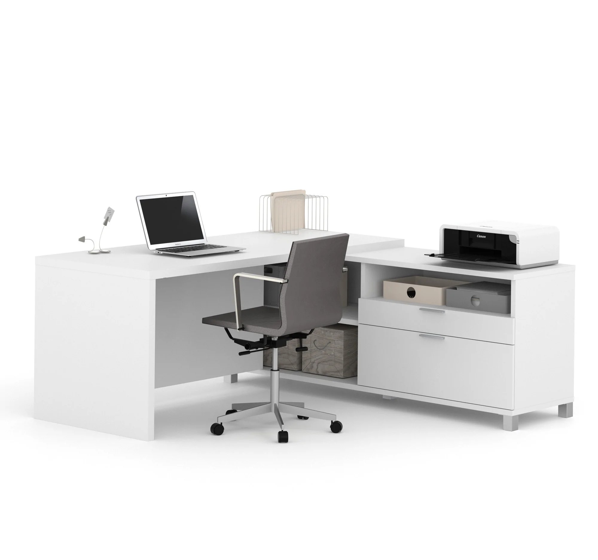 71 X 71 White L Shaped Desk With Storage By Bestar Officedesk Com