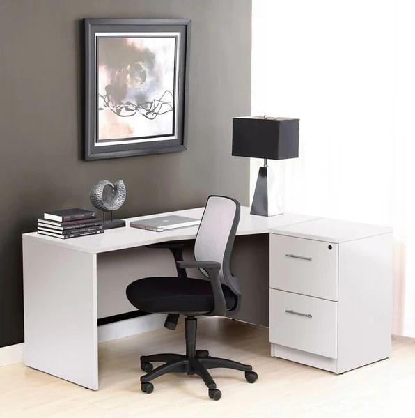 Premium White Crescent Desk With Two File Drawers