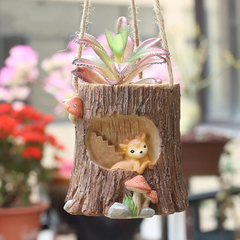 Cute Deer Tree Stump Resin Planter Succulent Wood Wall Hanging Plant Novariumhome