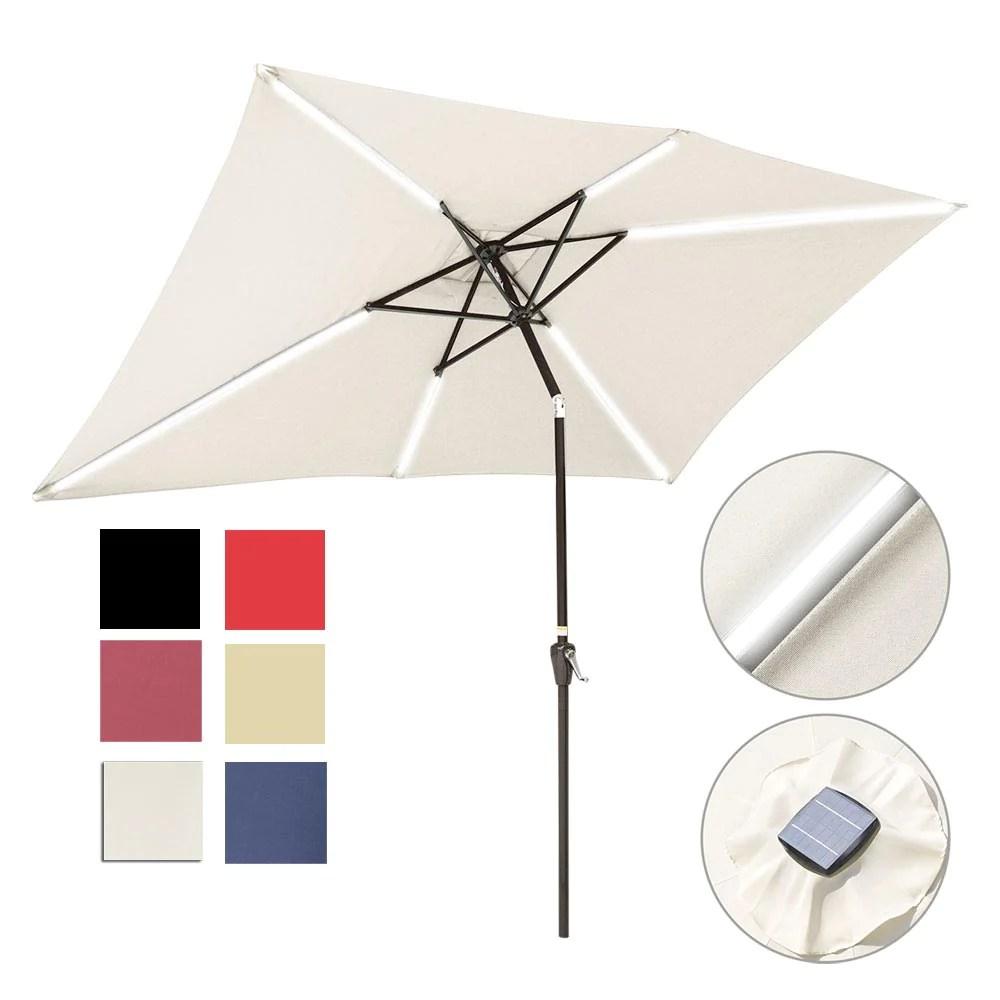 rectangular solar patio umbrella light tube tilt 10x6 5ft 6 rib