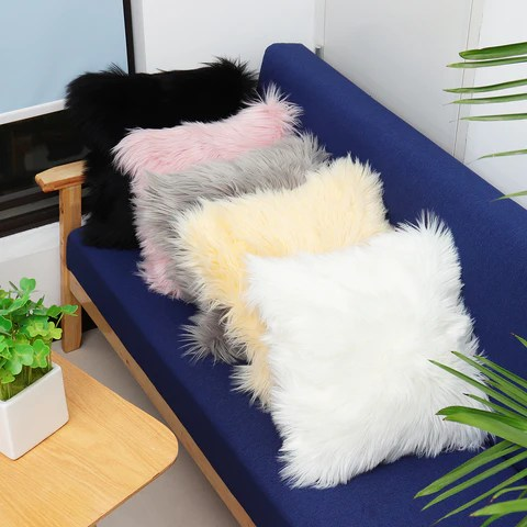 fuzzy faux fur throw pillow cases pink