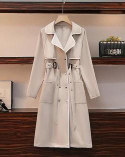 Solid Color Long Sleeve Windbreaker Coat