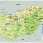 Hungary Physical Map Tiger Moon