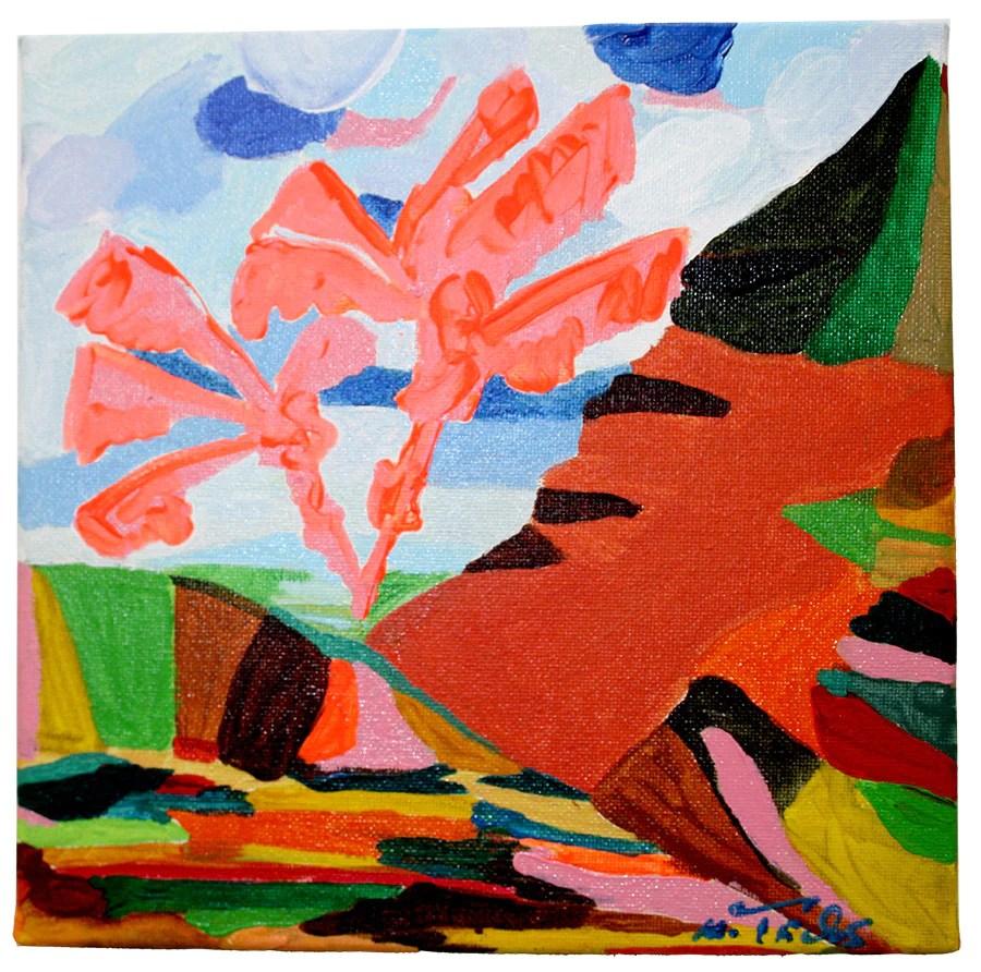 verkauft acryl kunstwerk serie mallorca palme