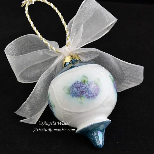Blue Hydrangeas Victorian Porcelain Christmas Ornament