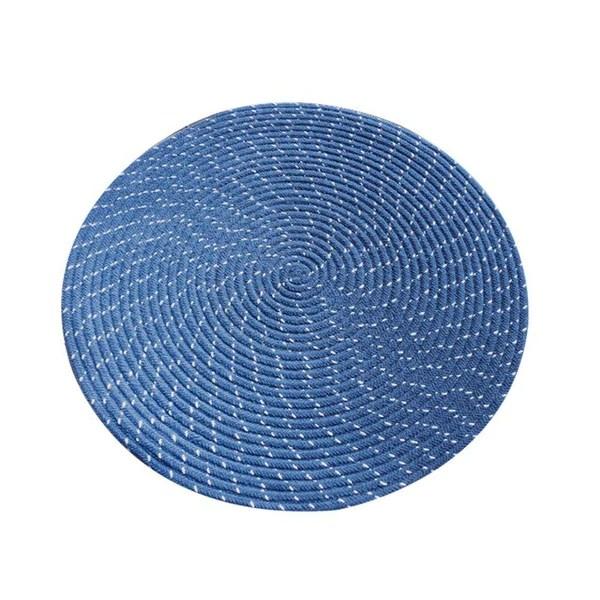 tapis rond bleu canard
