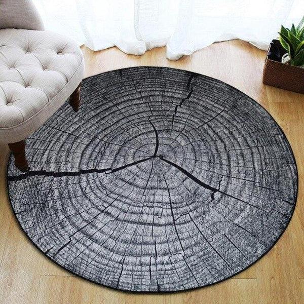 tapis rond rondin de bois