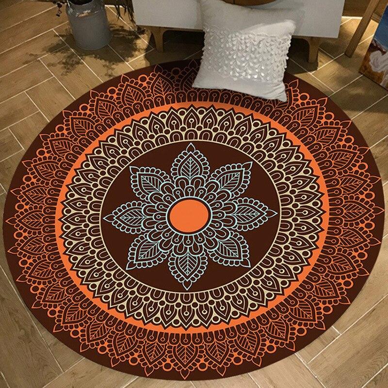 tapis rond a motif colore
