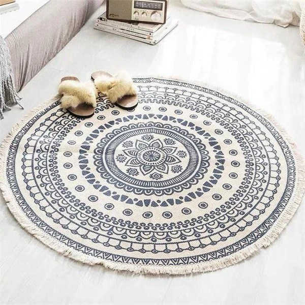 tapis rond rosace beige