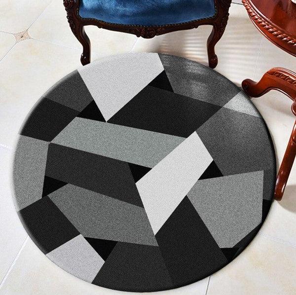 tapis rond motifs gris