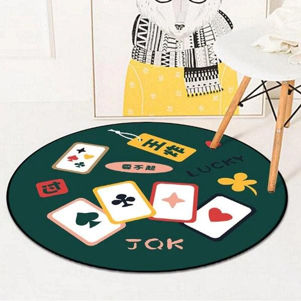 tapis rond jeu de carte
