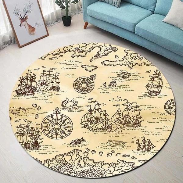 tapis rond motif bateau