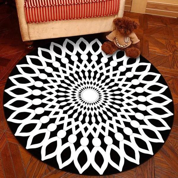 tapis rond motif geometrique