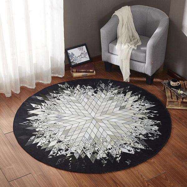 tapis rond scandinave noir et blanc