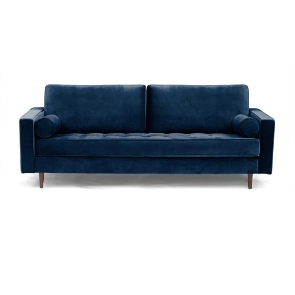 mid century modern tufted sofa with bolster pillows