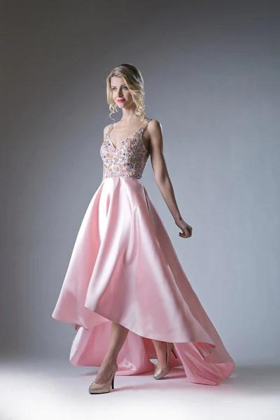 Blush Asymmetrical Austrian Crystal & Satin Gown Style # ...