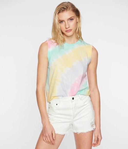 Pam & Gela Tie Dye Muscle T-Shirt in Black | Size Large