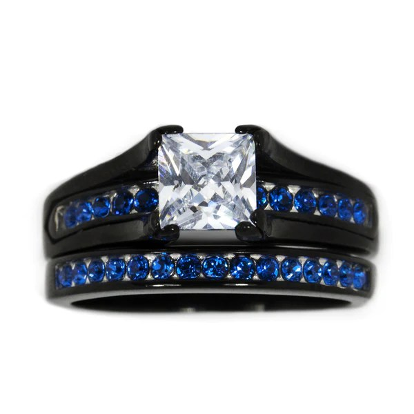 Thin Blue Line Stainless Steel Princess Cut CZ Wedding