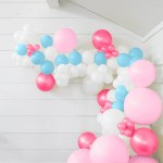 25 Ft Diy Balloon Garland Kit With Baby Pink Fuchsia Pink Baby Blue Balloons And Weights