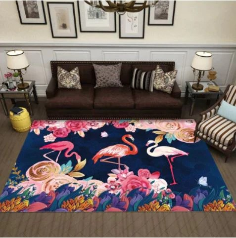 tapis flamant rose imprime