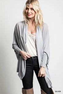 Silver Dream Cardigan Sweater - Leather and Sequins - 1