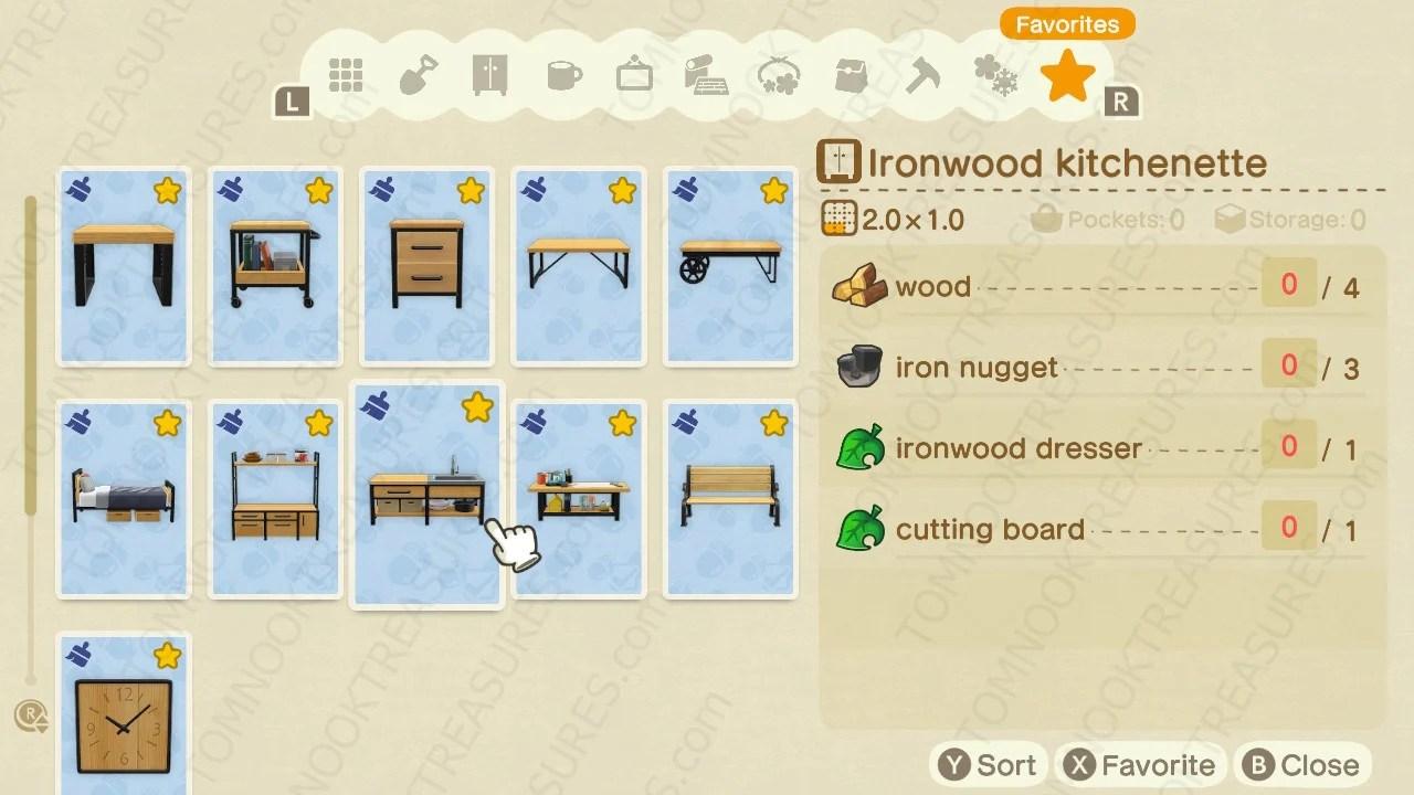Buy All Ironwood DIY Recipes Animal Crossing - Nooks Treasures on Ironwood Kitchenette Animal Crossing  id=27095