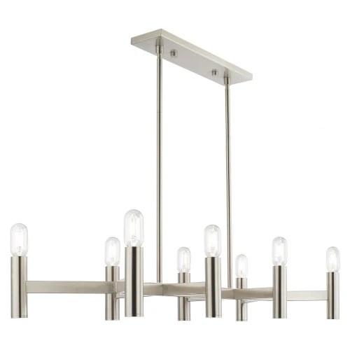 copenhagen 8 light brushed nickel linear chandelier