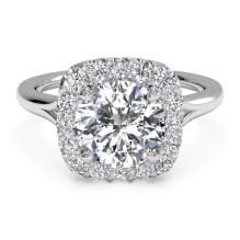 Ritani French-Set Halo Diamond Engagement Ring 1RZ1322-4574