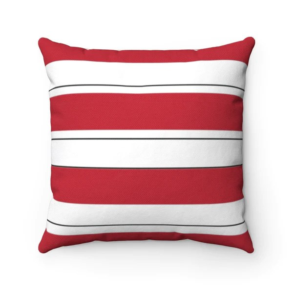 red stripe accent pillow