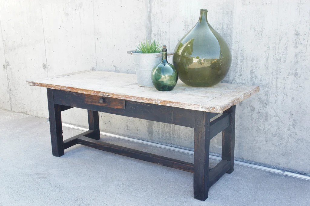 Rustic Black Legged Work Bench Console Table Dining Table Vintage French
