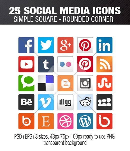 25 square social media icons with rounded corner