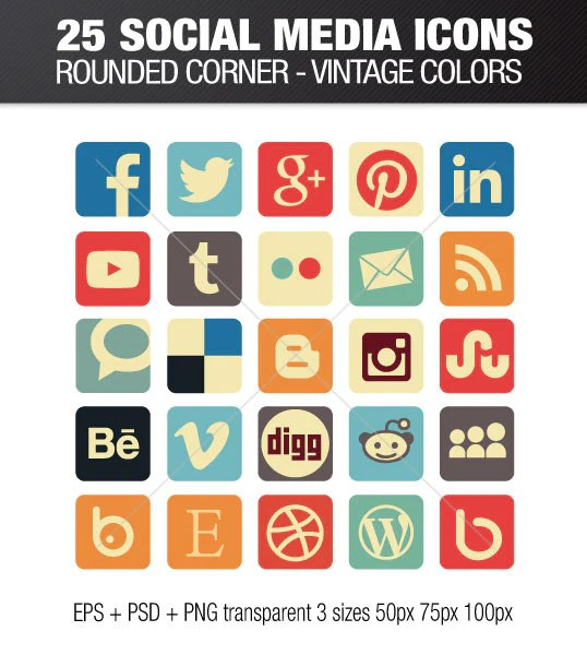 Social media icons rounded corners - vintage color