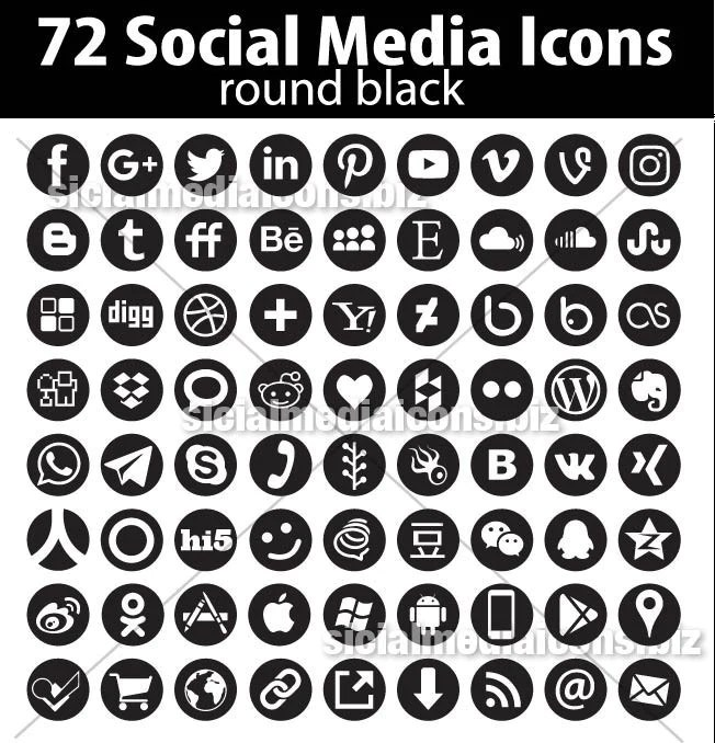 Black Vector Round Social Media Icons