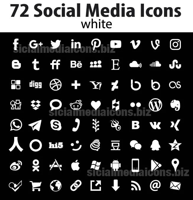72 Simple Flat Social Media Icons