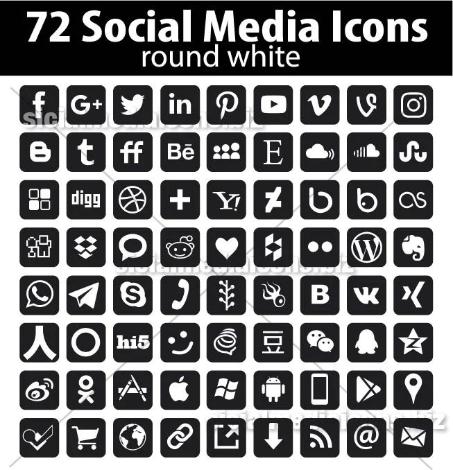 Rounded Square Black Social Media icons