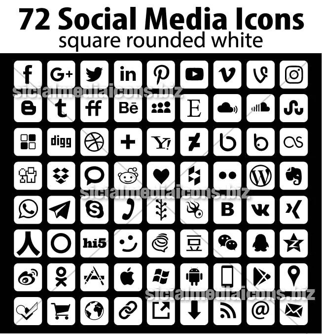 White Rounded Square Social Media Icons collection