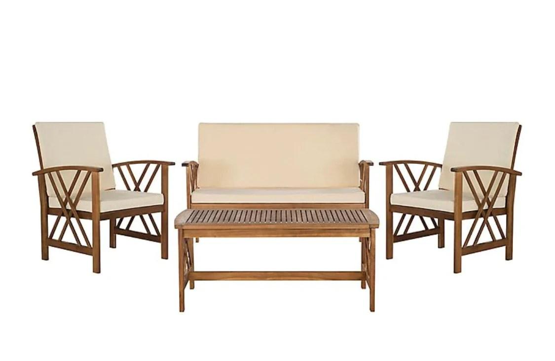 Fontana 4 Pc Outdoor Set in Color Teak Wood/Beige 71 CDR ... on Fontana 4 Pc Outdoor Set id=94731