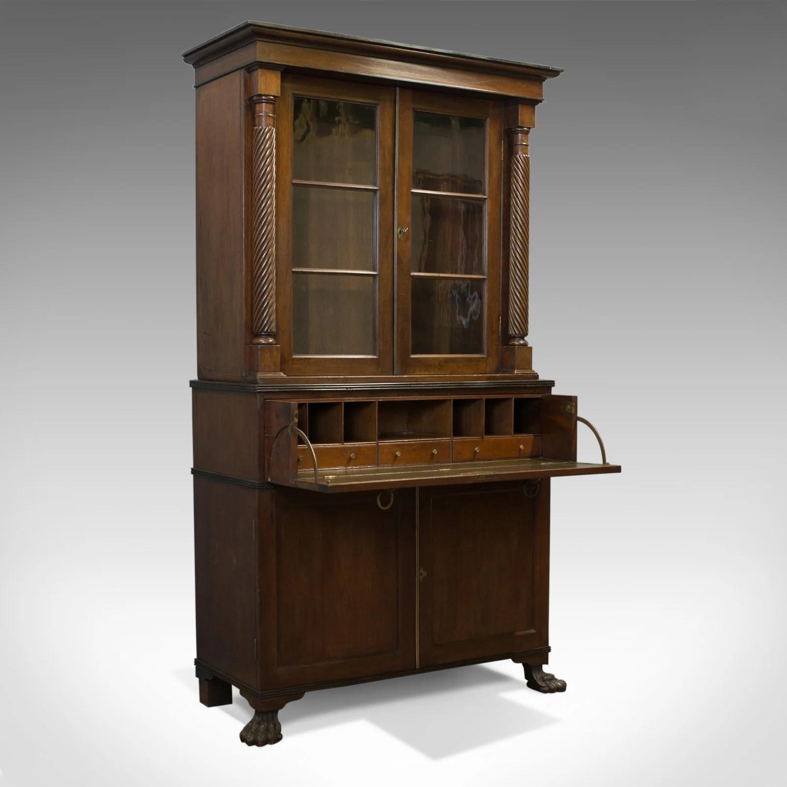 Details About Antique Secretaire Bookcase Scottish Mahogany Cabinet Victorian Circa 1880